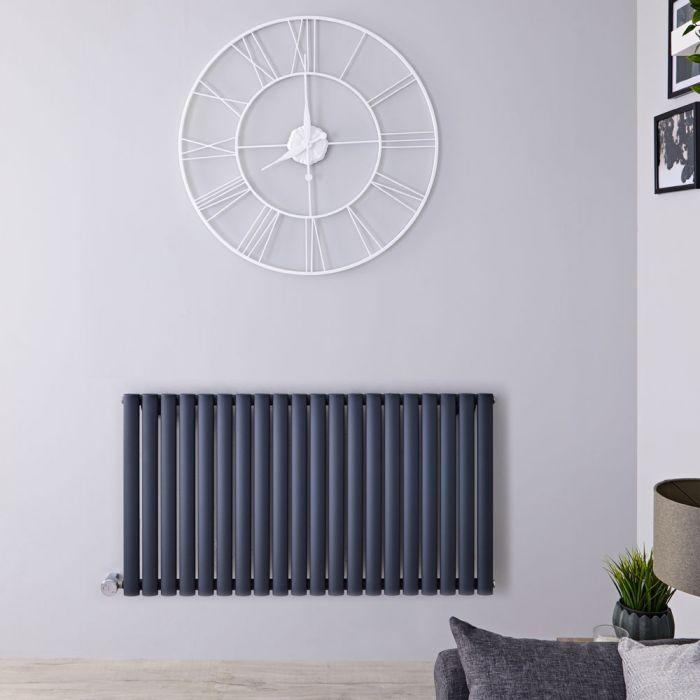Radiateur design électrique horizontal - Anthracite - 63,5 cm x 118 cm x 5,6 cm - Vitality