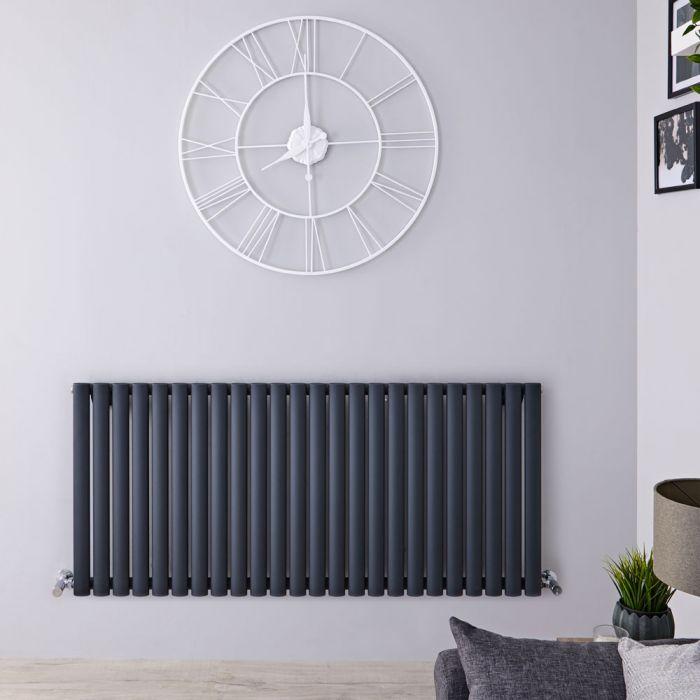 Radiateur design horizontal - Anthracite - 63,5 cm x 141,6 cm x 5,6 cm - Vitality