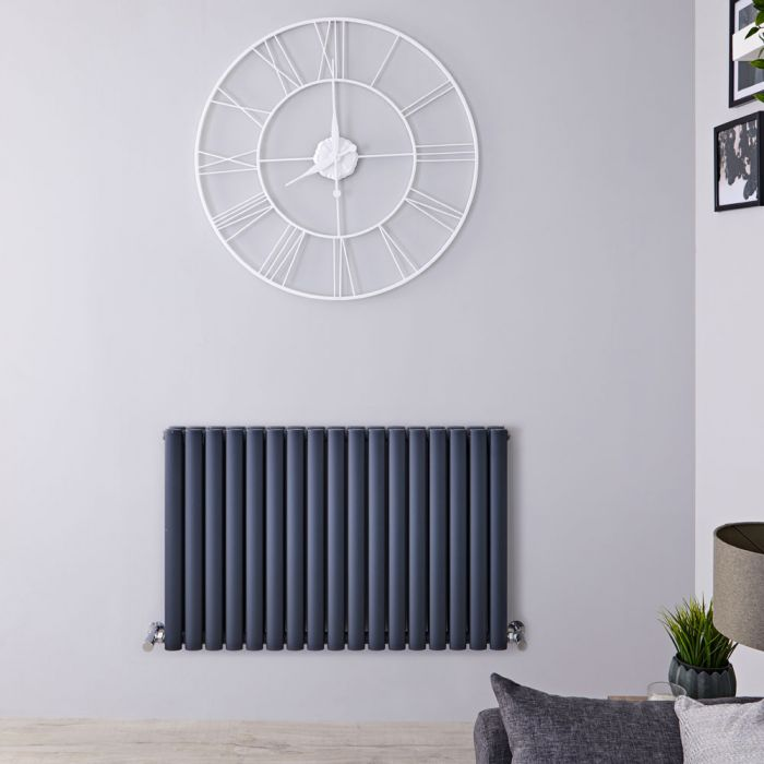 Radiateur design horizontal – Anthracite – 63,5 cm x 100 cm – Double rangs - Vitality