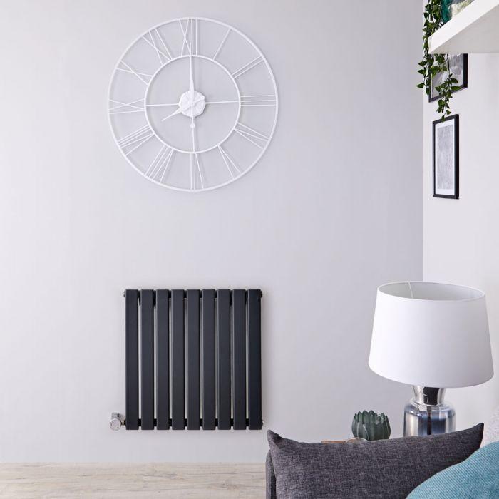 Radiateur design électrique horizontal - Anthracite - 63,5 cm x 63 cm x 4,6 cm - Delta