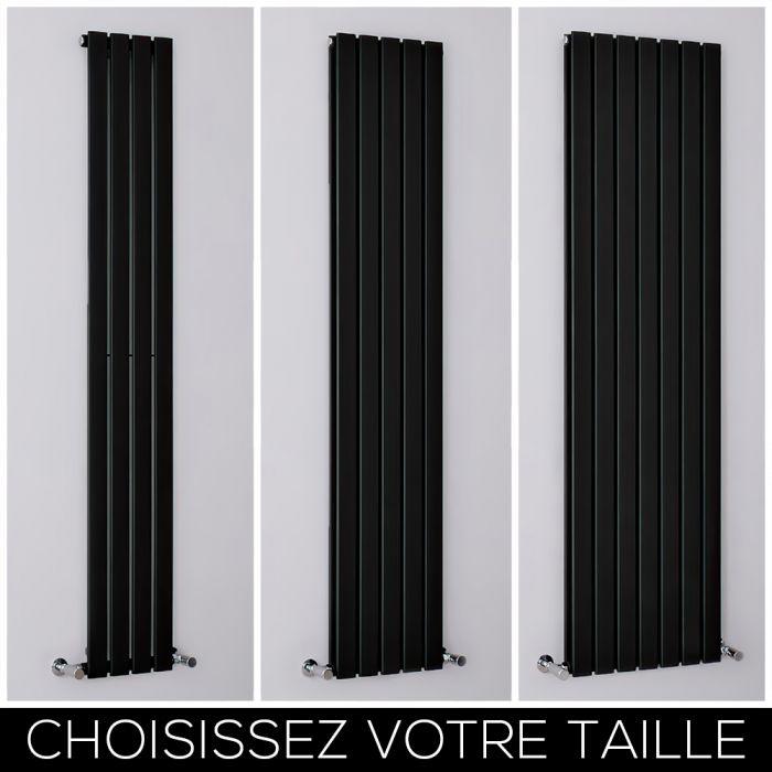 Radiateur design vertical noir - Tailles multiples - Delta