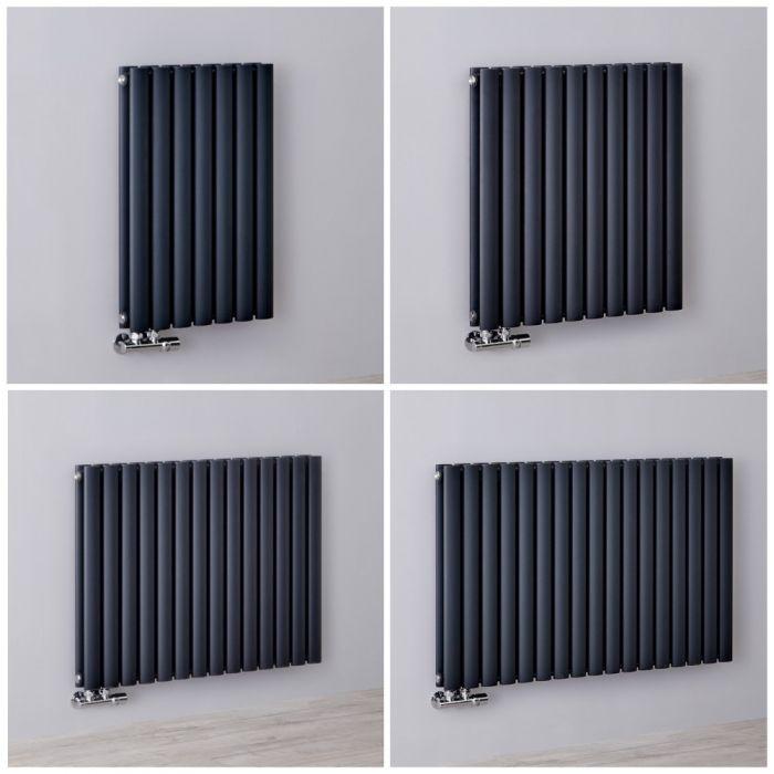 Radiateur design horizontal – Raccordement central - Anthracite – 63,5 cm – Choix de tailles - Vitality Caldae