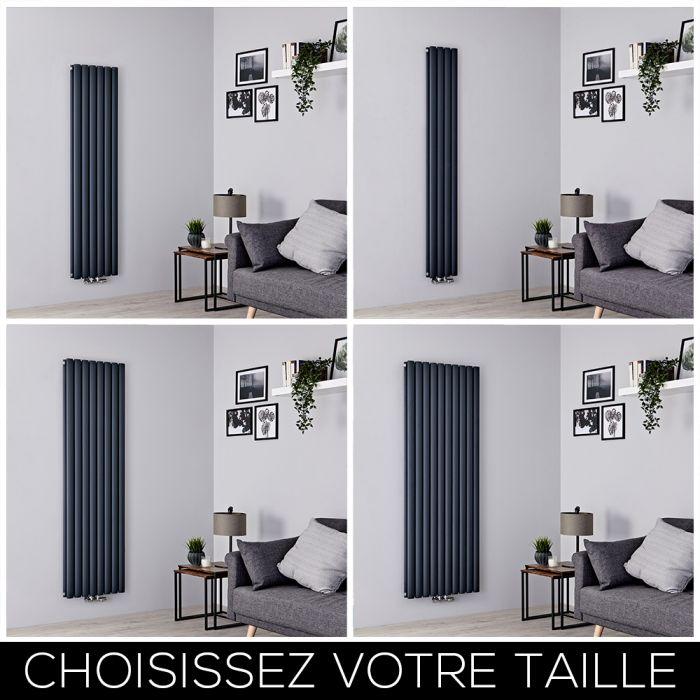 Radiateur design vertical – Raccordement central – Anthracite – Choix de tailles – Vitality Caldae