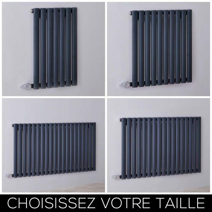 Radiateur design électrique horizontal – Anthracite – 63,5 cm – Choix de tailles - Vitality