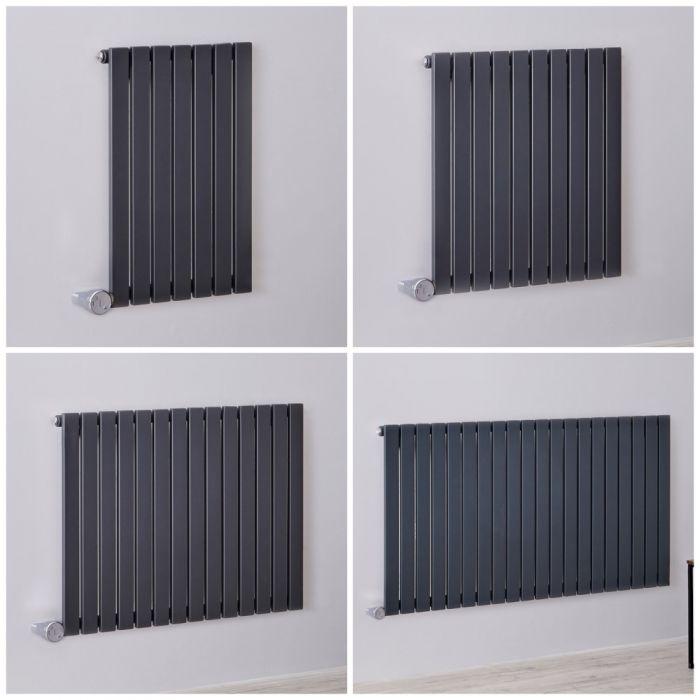 Radiateur design électrique horizontal – Colonnes plates – 63,5 cm – Anthracite – Tailles multiples – Sloane