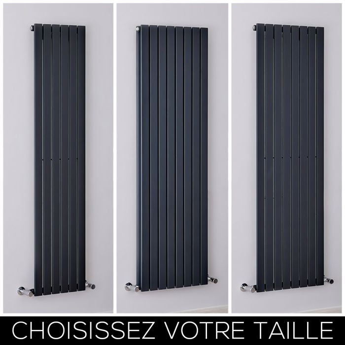 Radiateur design vertical – Colonnes Plates – Anthracite – Tailles multiples – Sloane