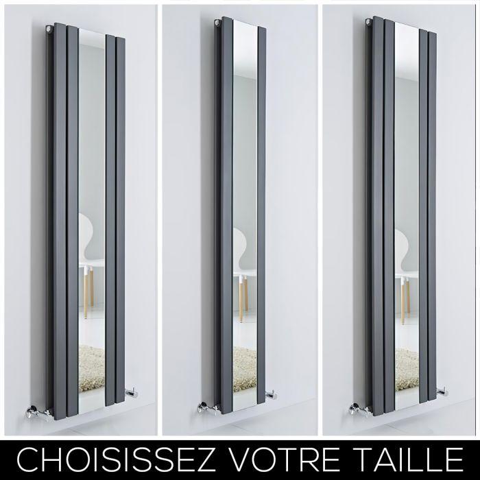 Radiateur design vertical – Avec miroir – Anthracite – Tailles multiples – Sloane