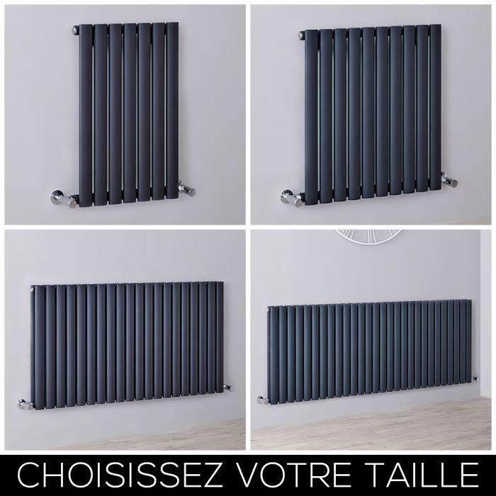 Radiateur design horizontal anthracite - Choix de tailles - Vitality