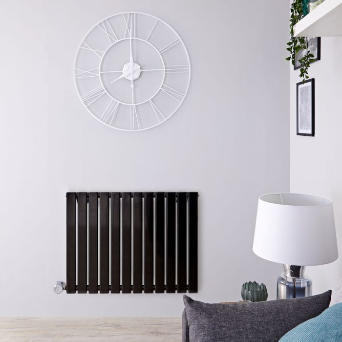Radiateur design électrique horizontal - Noir - 63,5 cm x 84 cm x 4,6 cm - Delta