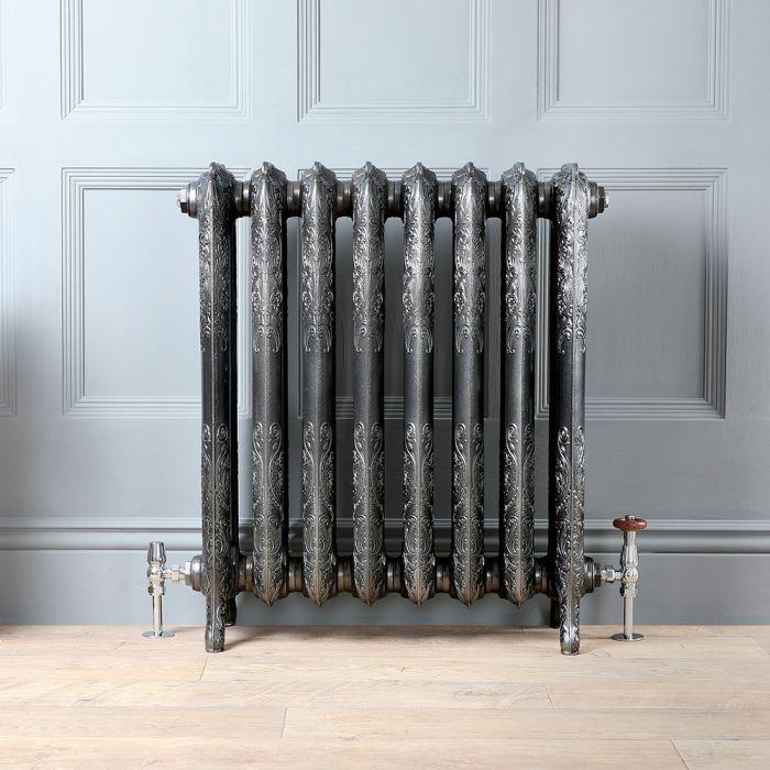 Radiateur fonte fleuri - 76,8 cm – Étain foncé – Tailles multiples – Charlotte