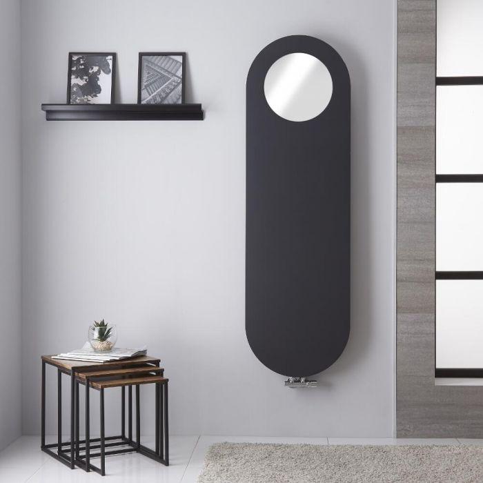 Radiateur design vertical avec miroir – Anthracite – 159,5 cm x 49,5 cm - Atrani