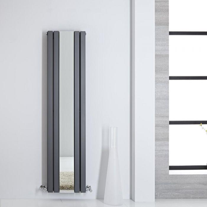 Radiateur design vertical – avec miroir – 160 cm x 38,5 cm – Anthracite – Sloane