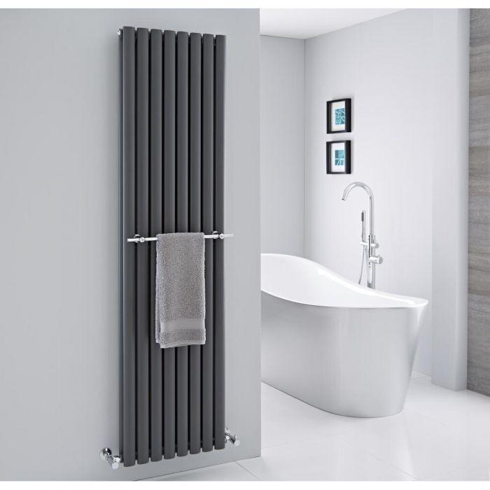 Barre porte-serviettes chromée 47cm pour radiateur
