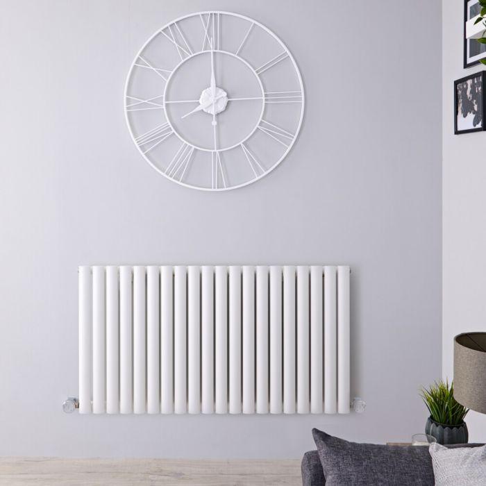 Radiateur design électrique horizontal - Blanc - 63,5 cm x 118 cm x 5,6 cm - Vitality