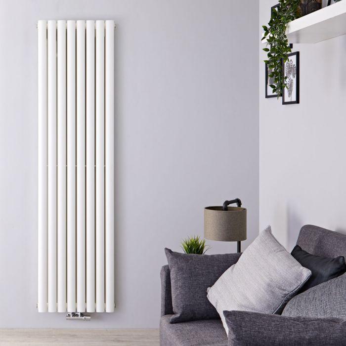 Radiateur Design Vertical Raccordement Central Blanc Vitality Caldae 160cm x 47,2cm x 7,5cm 1718 Watts