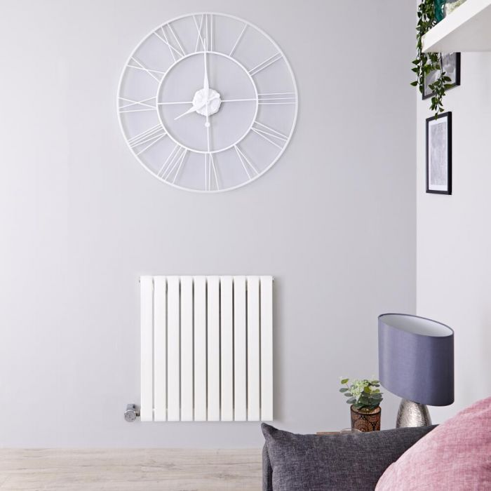 Radiateur design électrique horizontal – Blanc - 63,5 cm x 60 cm x 5,4 cm - Sloane
