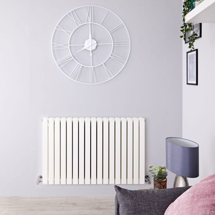 Radiateur design horizontal – Blanc – 63,5 cm x 100 cm – Double rangs - Sloane