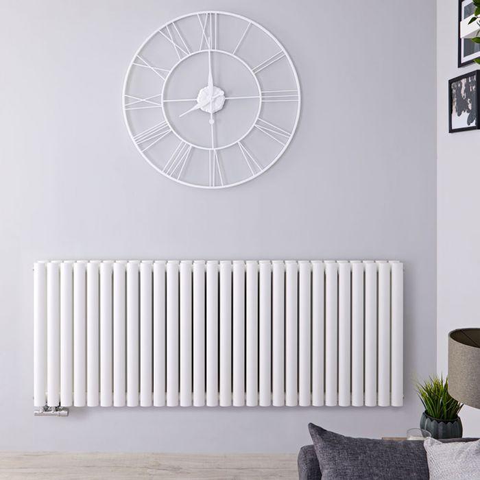 Radiateur Design Horizontal Raccordement Central Blanc Vitality Caldae 63,5cm x 164,7cm x 7,8cm 2614 Watts