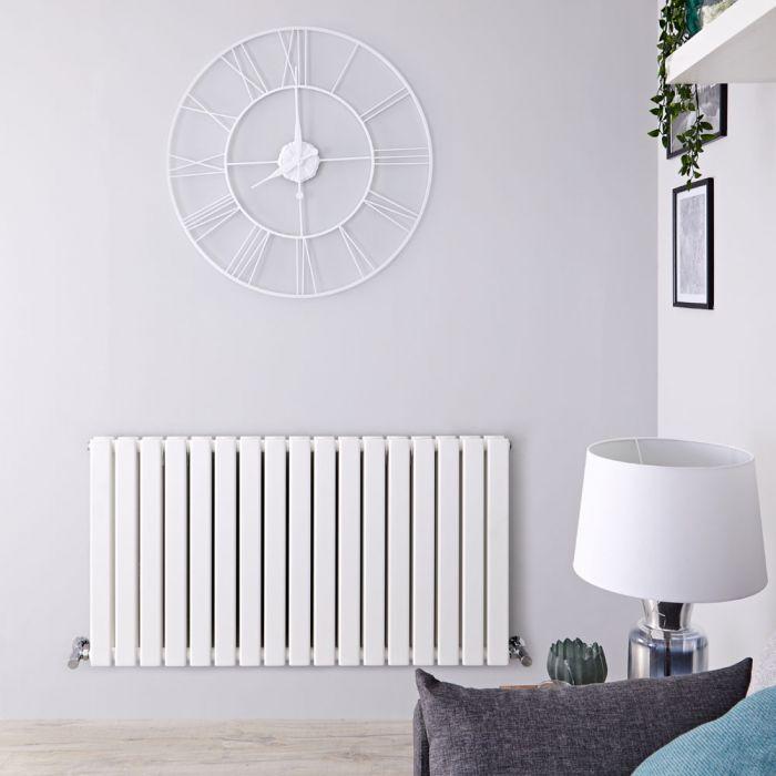 Radiateur design horizontal – Blanc – 63,5 cm x 119 cm – Double rangs - Delta