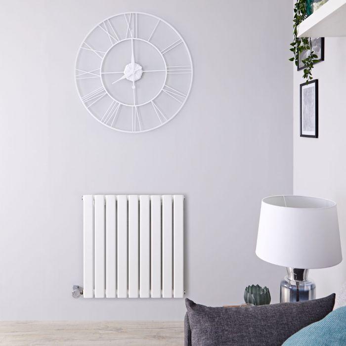 Radiateur design électrique horizontal - Blanc - 63,5 cm x 63 cm x 4,6 cm – Delta