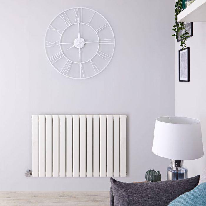 Radiateur design électrique horizontal - Blanc - 63,5 cm x 98 cm x 4,6 cm - Delta