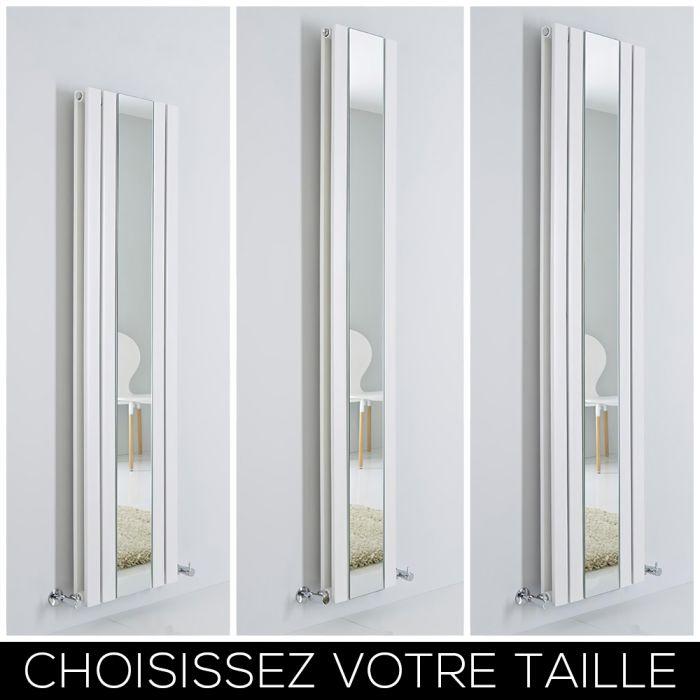 Radiateur design vertical – Avec miroir – Blanc – Tailles multiples – Sloane