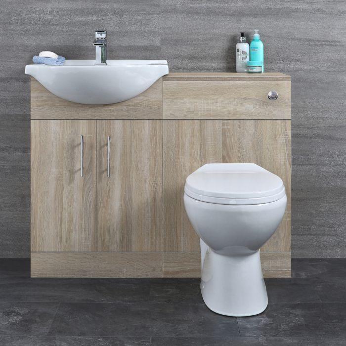 Meuble lavabo et meuble WC avec cuvette et réservoir – 104 cm  – Classic Oak
