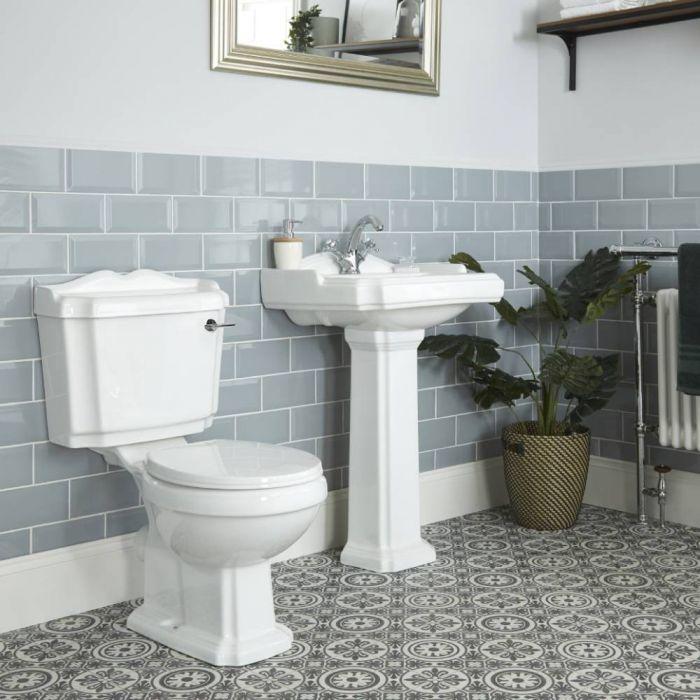 Pack WC et lavabo sur colonne rétro (1 trou) – Blanc - Windsor