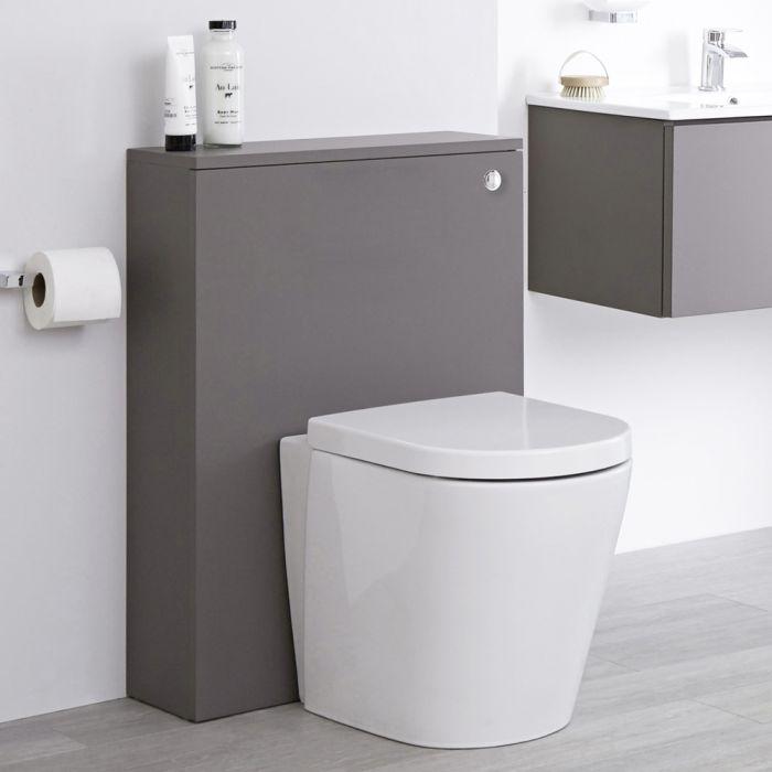 Meuble WC avec cuvette WC à poser – Gris – 60 cm - Newington