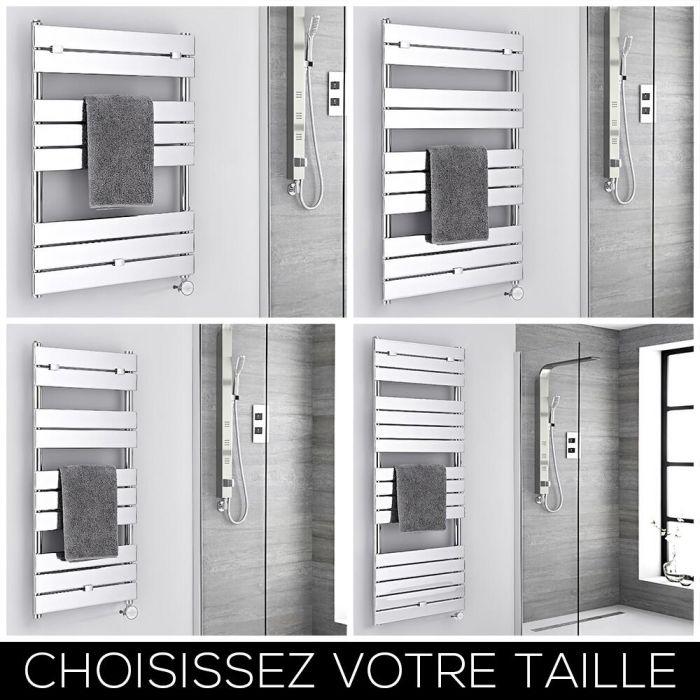Sèche-serviettes électrique – Barres plates – Chromé – Choix de tailles - Lustro