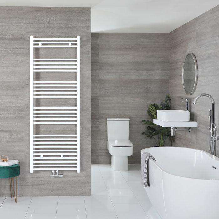 Sèche-serviettes à raccordement central – Blanc – 160 x 50 cm - Neva