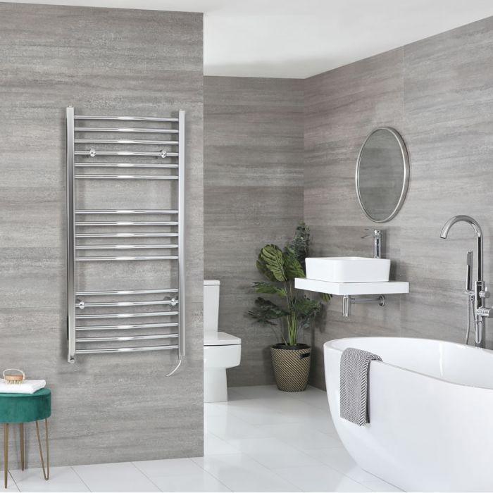 Sèche-serviettes électrique incurvé – Chromé – 120 cm x 50 cm - Kent