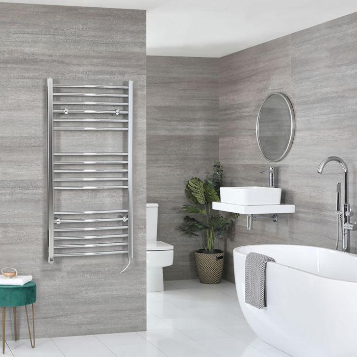 Sèche-serviettes électrique incurvé – Chromé – 120 cm x 60 cm - Kent