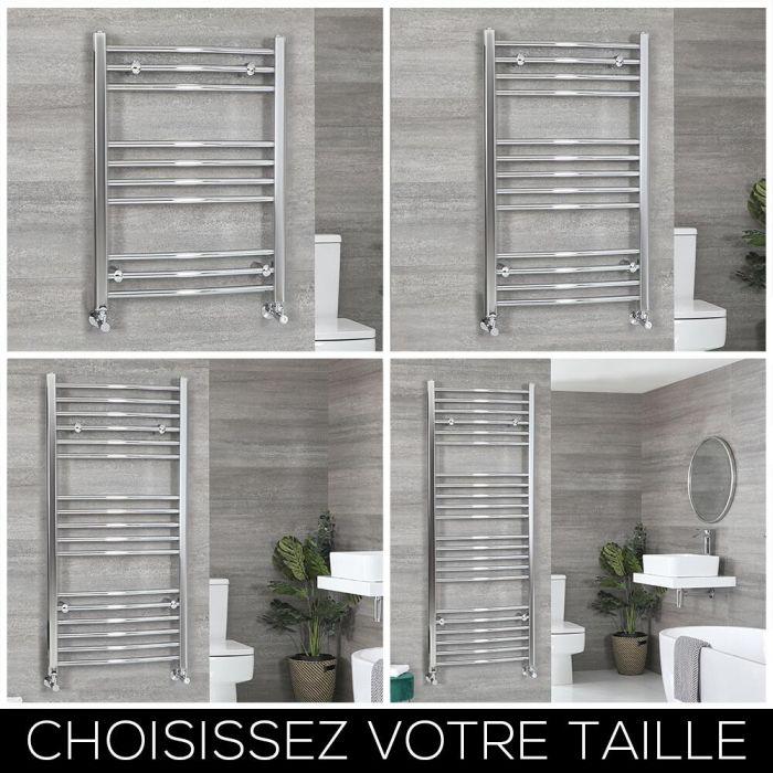 Sèche-serviettes incurvé – Chromé – Choix de tailles – Kent