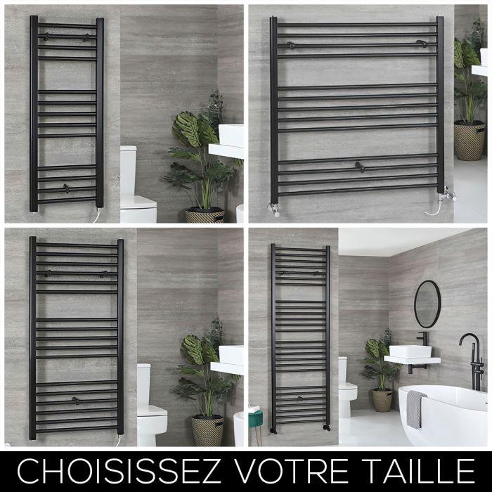 Sèche-serviettes électrique plat – Noir – Choix de tailles et élément chauffant - Nox