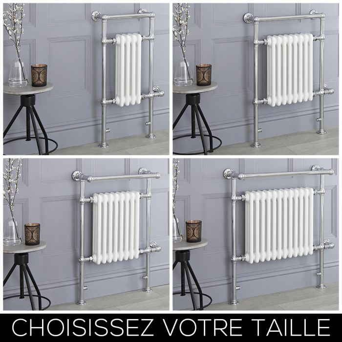 Sèche-serviettes électrique rétro – Blanc – Choix de tailles - Elizabeth