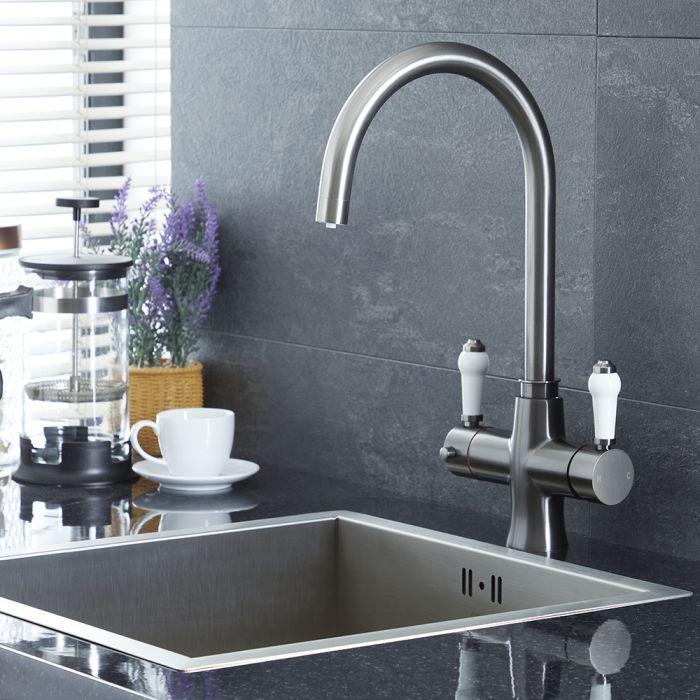 Robinet eau bouillante instantanée 3-en-1 – Rétro – Gris foncé - Elizabeth