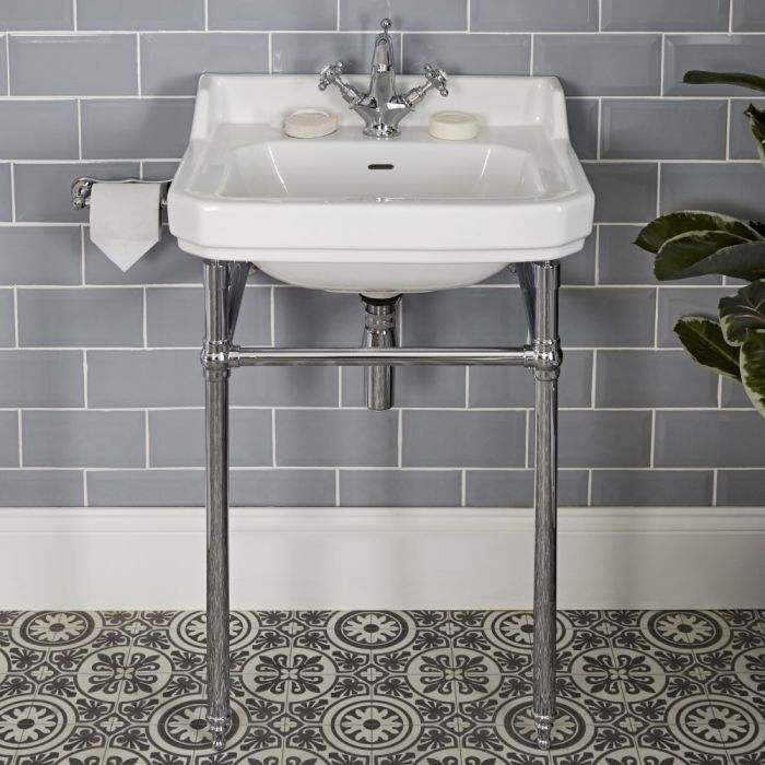 Lavabo sur pieds rétro – Blanc – 56 cm x 45 cm – 1 trou - Richmond