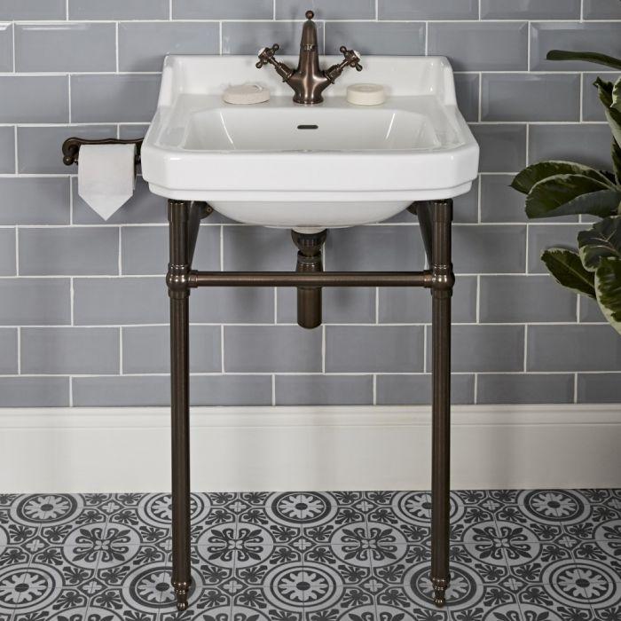 Lavabo sur pieds rétro – 56 cm – Bronze huilé - 1 trou - Richmond