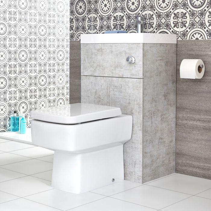 Meuble WC avec cuvette cubique et lave-main – Gris béton – 50 cm x 89 cm – Cluo