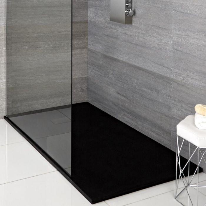 Receveur rectangulaire à effet texturé – Anthracite – 90 cm x 80 cm - Rockwell