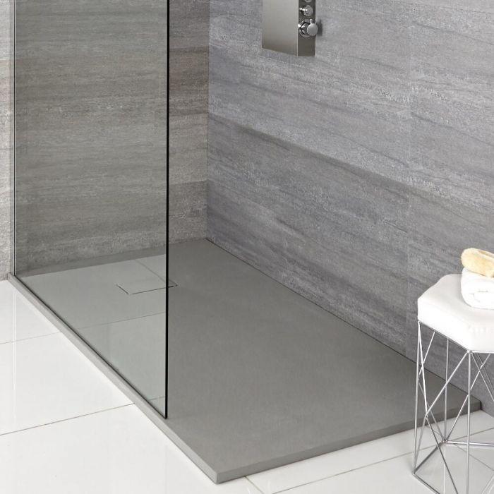 Receveur de douche à effet texturé – Gris perle – Choix de tailles et de pack pieds - Rockwell