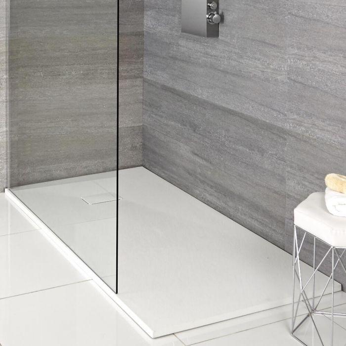 Receveur rectangulaire à effet texturé – Blanc mat – 140 cm x 80 cm – Rockwell