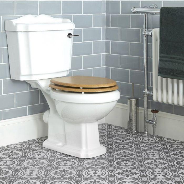 WC avec réservoir rétro et abattant effet chêne - Legend