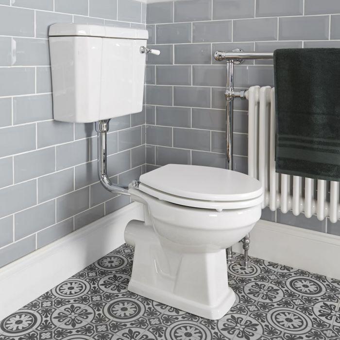 WC rétro à poser avec réservoir semi-bas et abattant en bois – Blanc - Richmond