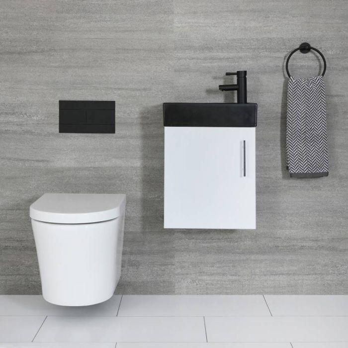 Meuble lave-mains suspendu – Blanc & Noir – 40 cm – Cluo