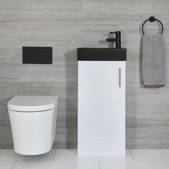Meuble lave-mains à poser – Blanc & Noir – 40 cm – Cluo