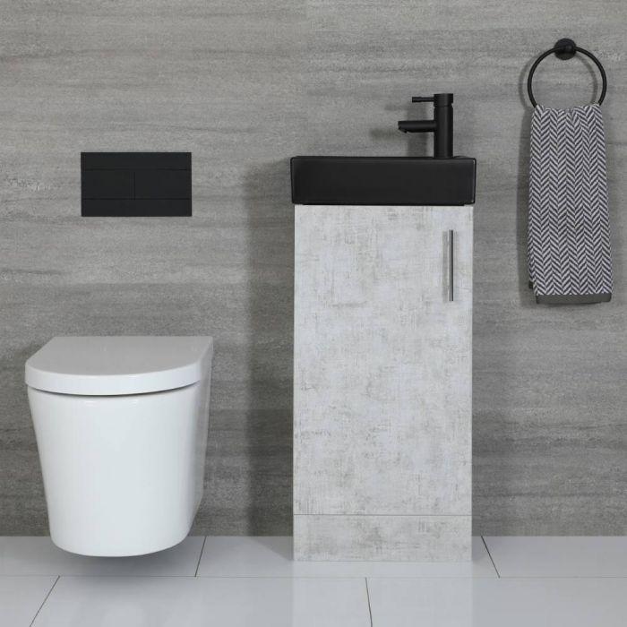 Meuble lave-mains à poser – Gris béton & Noir – 40 cm – Cluo