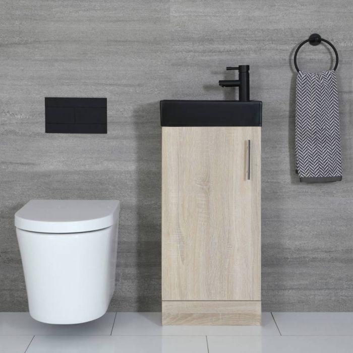 Meuble lave-mains à poser – Chêne & Noir – 40 cm – Cluo