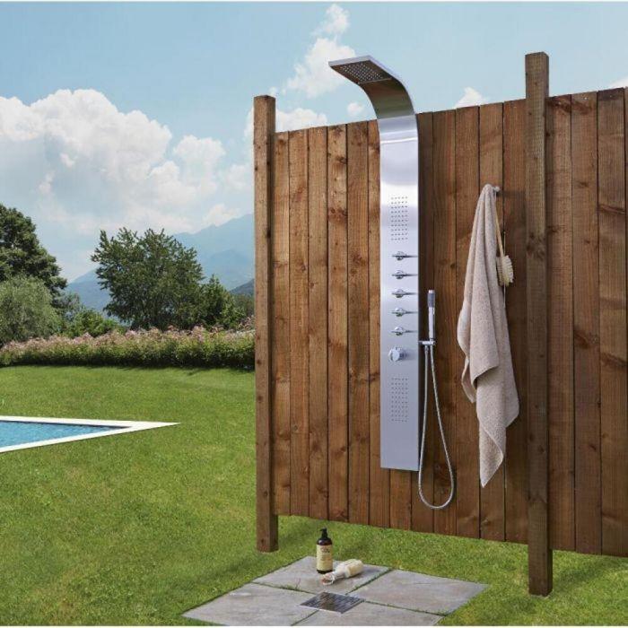 Douche extérieure thermostatique avec pommeau, douchette et buses hydromassantes – Chromé – 5 fonctions - Niagara